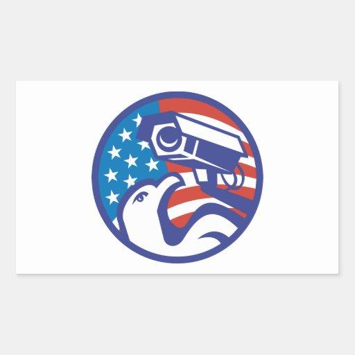American Bald eagle Security Camera Rectangular Stickers