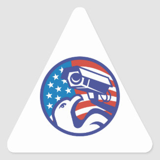 American Bald eagle Security Camera Triangle Stickers
