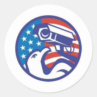American Bald eagle Security Camera Round Sticker