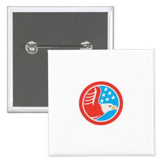 American Bald Eagle Stars Circle Retro Pins