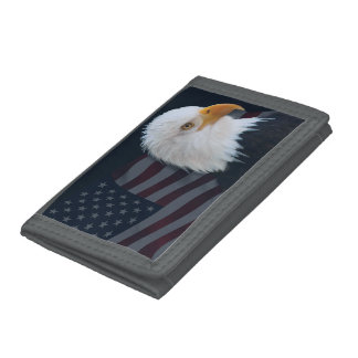 American bald eagle trifold wallets