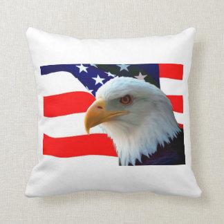 American Bald Eagle & U.S. Flag Throw Pillow