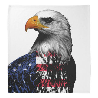 American Bald Eagle wrapped in the Flag of the USA Bandana