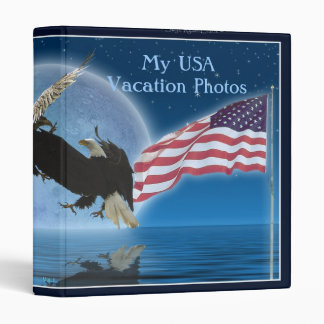 AMERICAN BALD EAGLES & US FLAG Patriotic Binder