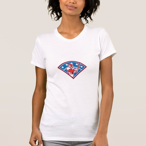American Baseball Batter Hitter Bat Diamond Retro T Shirt