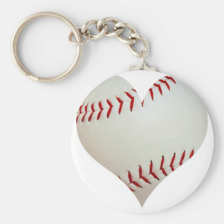 American Baseball In A Heart Shape Basic Round Button Keychain