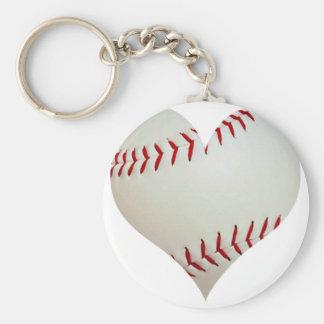 American Baseball In A Heart Shape Keychain