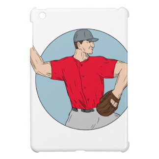 American Baseball Pitcher Throwing Ball Circle Dra Case For The iPad Mini
