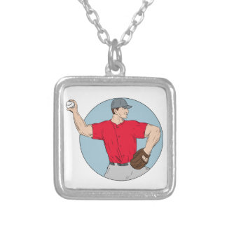 American Baseball Pitcher Throwing Ball Circle Dra Silver Plated Necklace