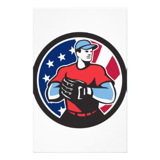 American Baseball Pitcher USA Flag Icon Stationery