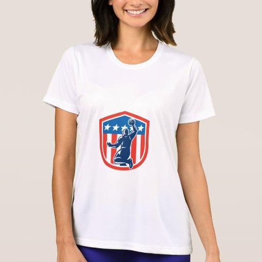 American Basketball Player Dunk Rear Shield Retro T Shirt