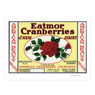American Beauty Eatmor Cranberries Brand Label Postcard