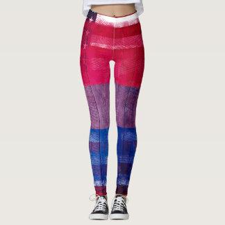 American Bisexual Pride Flag | Wood & Paintstrokes Leggings