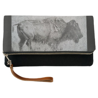American Bison Black Lined Clutch