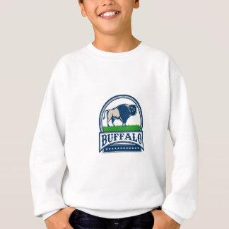 American Bison Buffallo Banner Circle Woodcut Sweatshirt