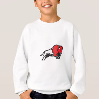 American Bison Buffalo Jumping Retro Sweatshirt