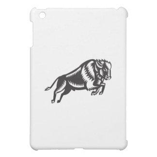 American Bison Buffalo Jumping Woodcut Cover For The iPad Mini