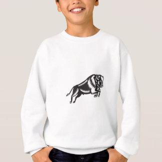 American Bison Buffalo Jumping Woodcut Sweatshirt