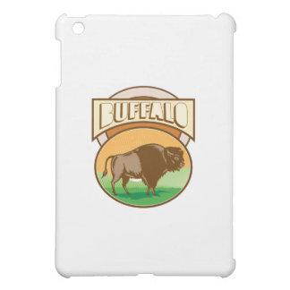 American Bison Buffalo Oval Woodcut iPad Mini Covers
