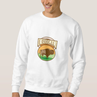 American Bison Buffalo Oval Woodcut Sweatshirt