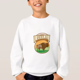 American Bison Buffalo Oval Woodcut Sweatshirt