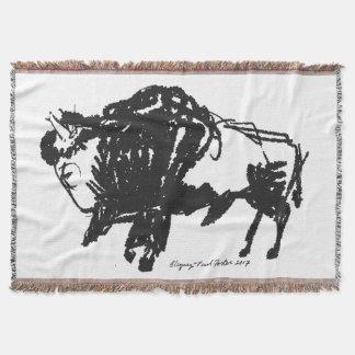 American Bison (Buffalo) Standing Throw Blanket
