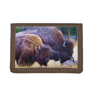 American Bison Family Tri-fold Wallets