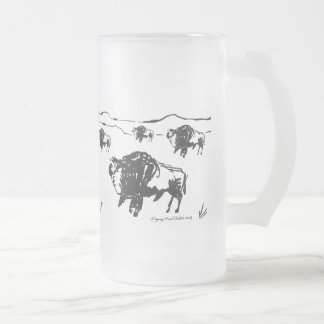 American Bison Frosted Glass Beer Mug