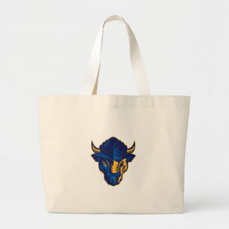 American Bison Head Retro Large Tote Bag
