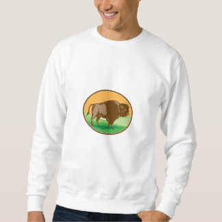American Bison Oval Woodcut Sweatshirt