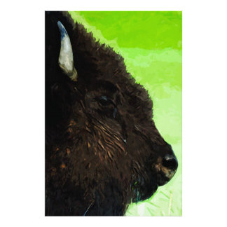 American Bison Portrait Abstract Impressionism