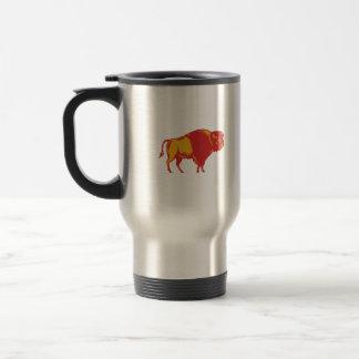 American Bison Side Woodcut 15 Oz Stainless Steel Travel Mug