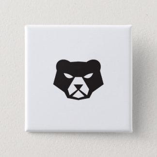 American Black Bear Head Retro 2 Inch Square Button