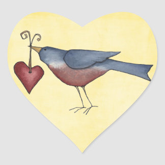 american blue bird heart sticker