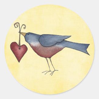 american blue bird round sticker