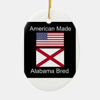 """American Born..Alabama Bred"" Flags and Patriotism Ceramic Oval Ornament"