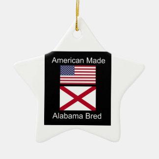 """American Born..Alabama Bred"" Flags and Patriotism Ceramic Star Ornament"
