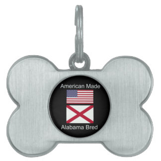 """American Born..Alabama Bred"" Flags and Patriotism Pet Name Tag"