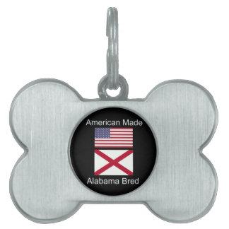 """American Born..Alabama Bred"" Flags and Patriotism Pet Tag"