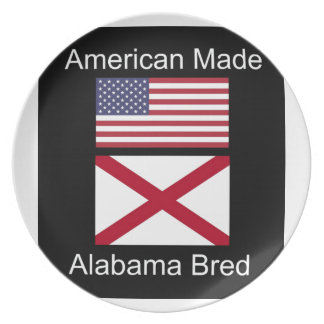 """""""American Born..Alabama Bred"""" Flags and Patriotism Plate"""