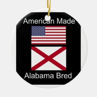 """American Born..Alabama Bred"" Flags and Patriotism Round Ceramic Ornament"