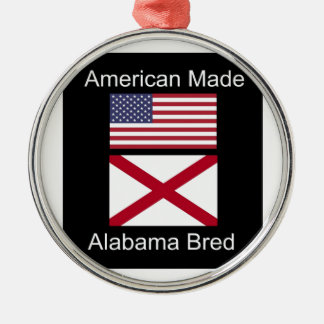 """""""American Born..Alabama Bred"""" Flags and Patriotism Silver-Colored Round Ornament"""