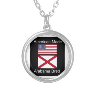 """""""American Born..Alabama Bred"""" Flags and Patriotism Silver Plated Necklace"""