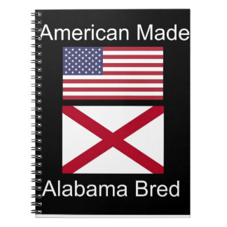 """American Born..Alabama Bred"" Flags and Patriotism Spiral Notebooks"