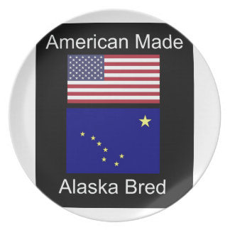 """American Born..Alaska Bred"" Flags and Patriotism Dinner Plates"