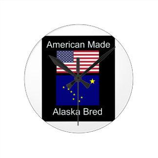"""American Born..Alaska Bred"" Flags and Patriotism Round Clock"