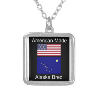 """""""American Born..Alaska Bred"""" Flags and Patriotism Silver Plated Necklace"""