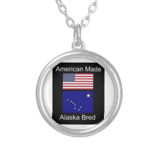 """American Born..Alaska Bred"" Flags and Patriotism Silver Plated Necklace"