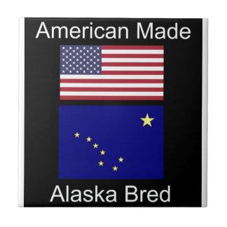 """American Born..Alaska Bred"" Flags and Patriotism Tile"
