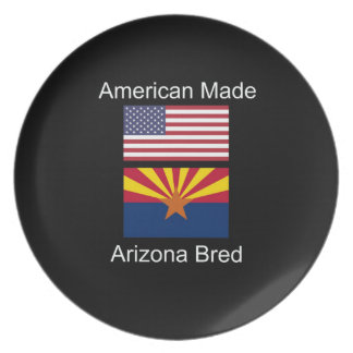 """American Born..Arizona Bred"" Flags and Patriotism Party Plate"